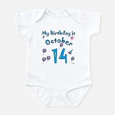 October 14th Birthday Infant Bodysuit