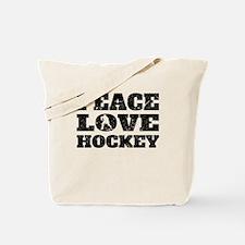 Peace Love Hockey (Distressed) Tote Bag
