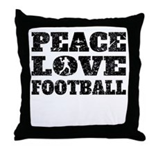 Peace Love Football (Distressed) Throw Pillow