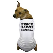 Peace Love Basketball (Distressed) Dog T-Shirt
