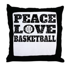 Peace Love Basketball (Distressed) Throw Pillow