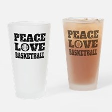 Peace Love Basketball (Distressed) Drinking Glass
