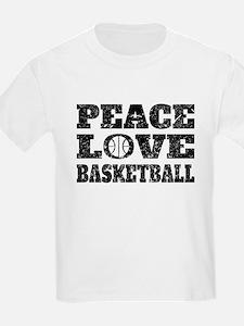 Peace Love Basketball (Distressed) T-Shirt