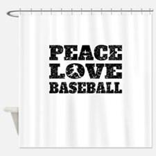 Peace Love Baseball (Distressed) Shower Curtain
