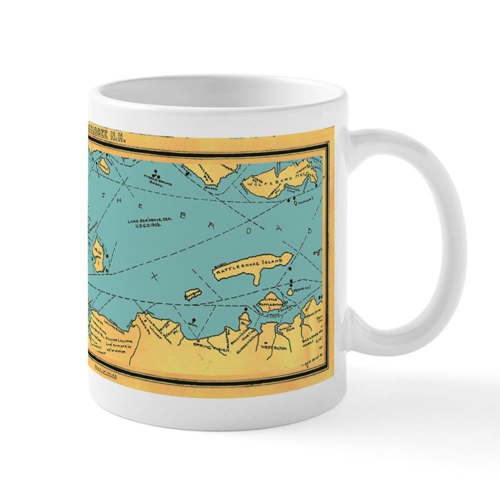 CafePress Panoramic 1911 Lake Winnipesaukee Map Large Mugs