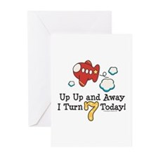 7th Birthday Airplane Greeting Cards (Pk of 20)