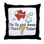 7th Birthday Airplane Throw Pillow