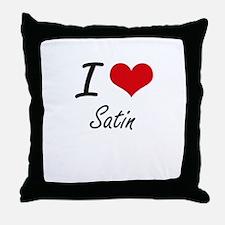 I Love Satin Throw Pillow