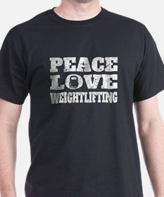 Peace Love Weightlifting (Distressed) T-Shirt