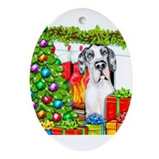Great Dane Stockings Harlequin UC Ornament (Oval)