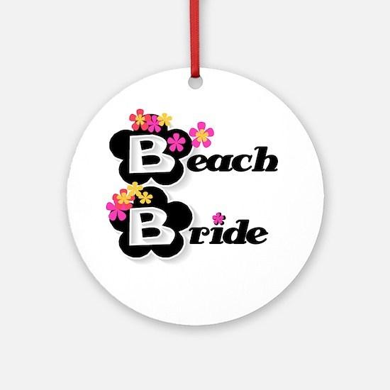 Black & White Beach Bride Ornament (Round)