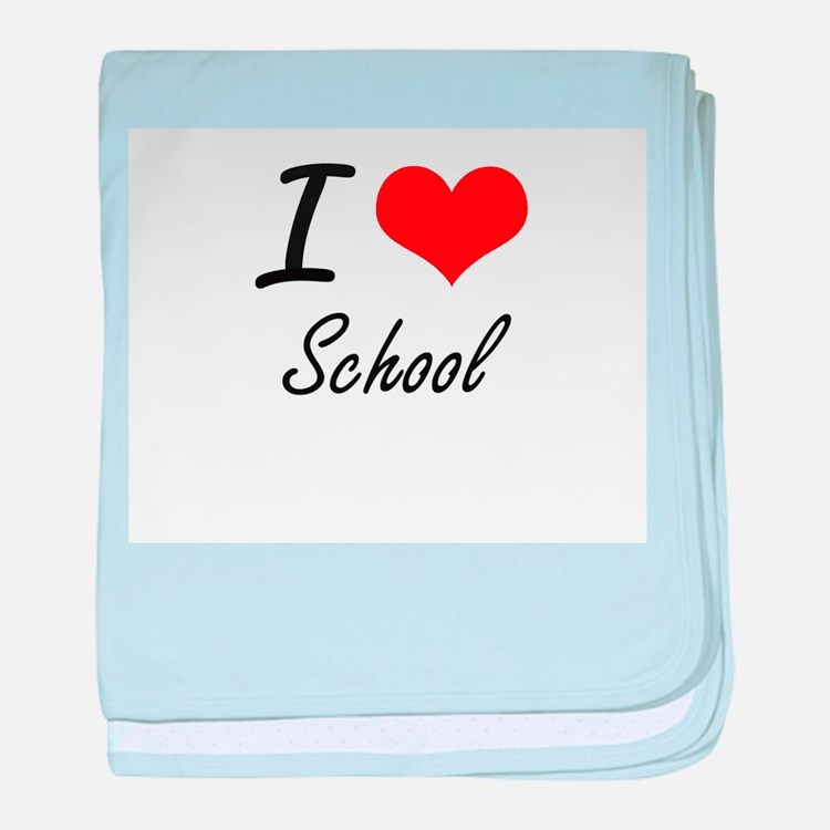I Love School baby blanket