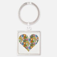 Flower-Heart Square Keychain