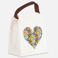 Flower-Heart Canvas Lunch Bag