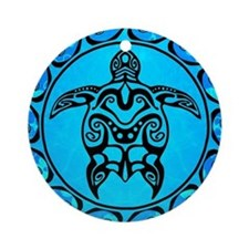 Black Tribal Turtle And Flower Pattern Round Ornam