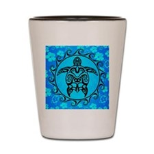 Black Tribal Turtle And Flower Pattern Shot Glass