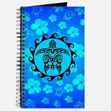 Black Tribal Turtle And Flower Pattern Journal