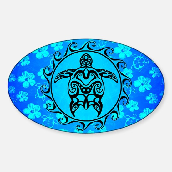 Black Tribal Turtle And Flower Pattern Decal