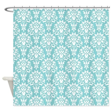 Aqua Damask Shower Curtain By Admin CP119312604