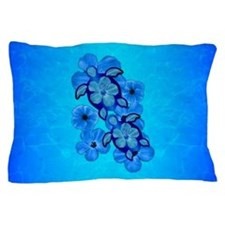 Blue Hibiscus And Honu Turtles Pillow Case