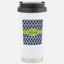 Navy Blue and White Qua Stainless Steel Travel Mug