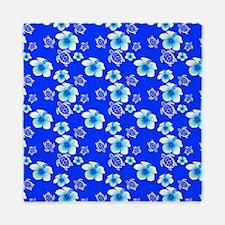 Blue Hibiscus And Hawaiian Turtles Pattern Queen D