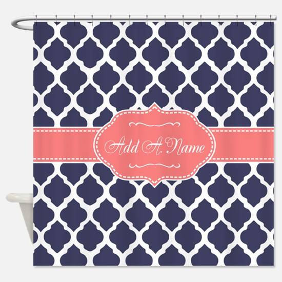 navy and coral shower curtain. Navy Blue Quatrefoil Coral Personal Shower Curtain And Curtains  CafePress