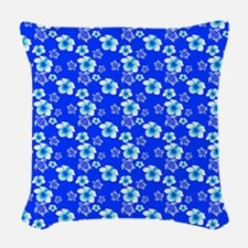 Blue Hibiscus And Hawaiian Turtles Pattern Woven T