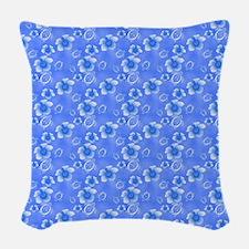 Blue Honu And Hawaiian Flowers Pattern Woven Throw