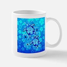 Blue Hibiscus Flowers And Sea Turtles Mugs