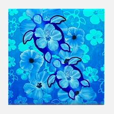 Blue Hibiscus Flowers And Sea Turtles Tile Coaster