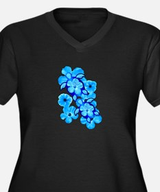 Blue Hibiscus Flowers And Sea Turtles Plus Size T-