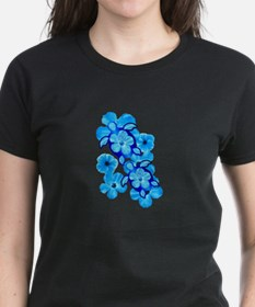 Blue Hibiscus Flowers And Sea Turtles T-Shirt