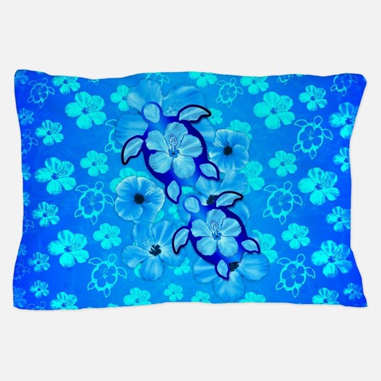 Blue Hibiscus Flowers And Sea Turtles Pillow Case