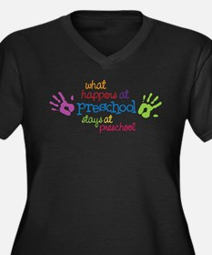 Cute Preschool Women's Plus Size V-Neck Dark T-Shirt
