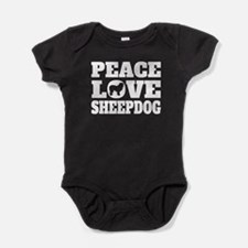 Peace Love Sheepdog Baby Bodysuit