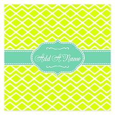 Neon and Mint Green Geometr Invitations