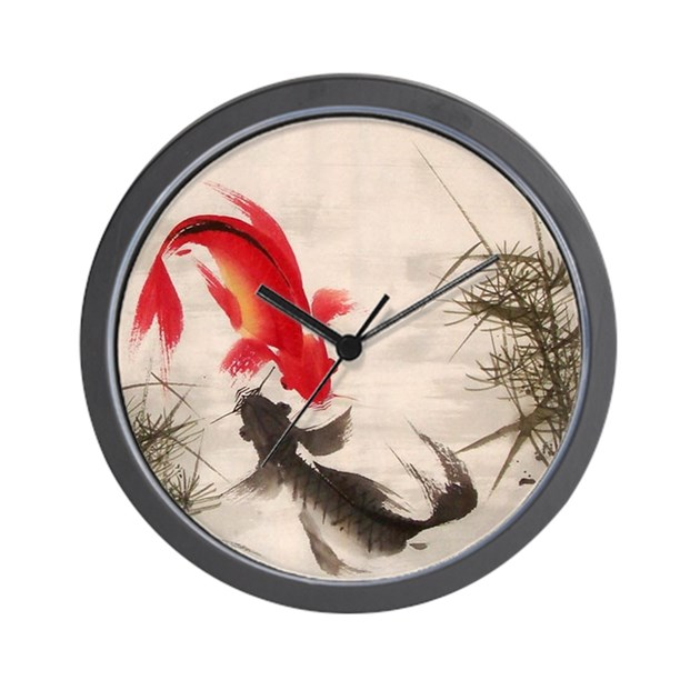 Koi fish wall clock by allwallart for Fish wall clock