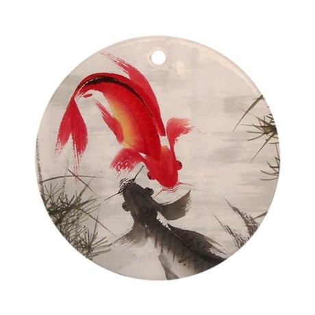 Koi fish round ornament by allwallart for Koi fish ornament