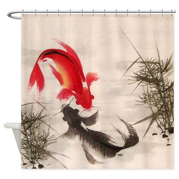 Koi fish shower curtain by allwallart for Koi fish bathroom decorations