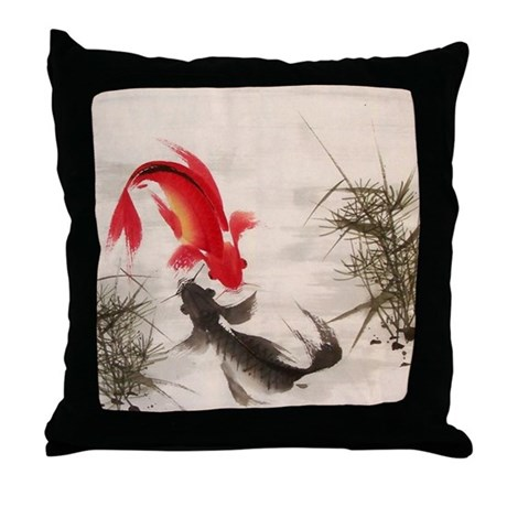 Koi fish throw pillow by allwallart for Koi fish pillow