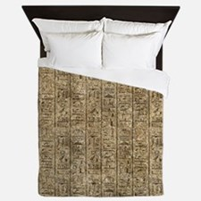 Egyptian Hieroglyphics Queen Duvet