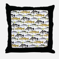 Seatrout and Drum Pattern Throw Pillow