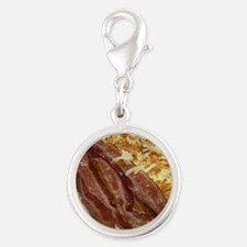 Bacon And Hash Browns Silver Round Charm