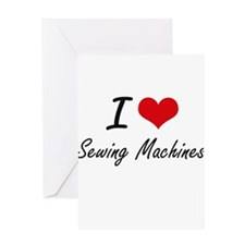 I Love Sewing Machines Greeting Cards