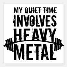 My Quiet Time Involves Heavy Metal Square Car Magn