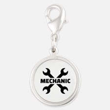 Crossed screw wrench mechanic Silver Round Charm