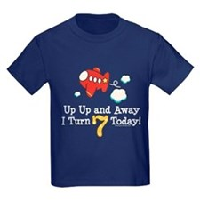 7th Birthday Airplane Kids Navy T-Shirt