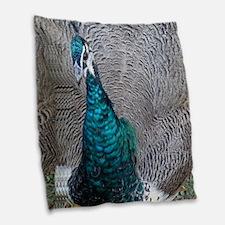 Strutting Peacock Burlap Throw Pillow