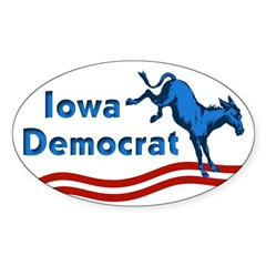 Iowa Democrat Oval Bumper Decal